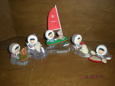 Hallmark - Collection of 5 Frosty Friends Ornaments - 1985, '86, '87, '90 & 1997