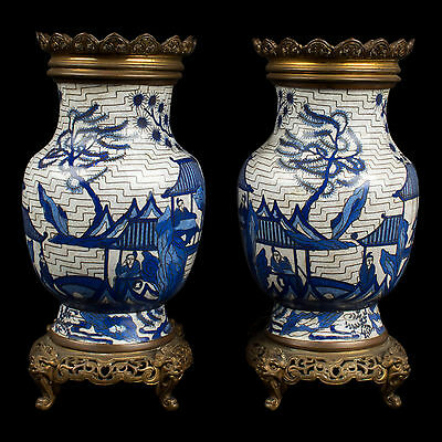China 19./20. Jh. Vasen - A Pair of Chinese Cloisonne Vases -Chinois Cinese Qing