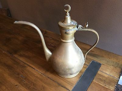 Antique Middle Eastern Style Coffee Tea Pot/ Pitcher Brass With Half Moon Topper