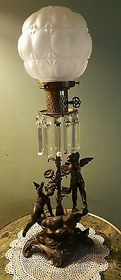Antique Lamp-Angels/Putti-Crystal Prisms- Glass Shade-