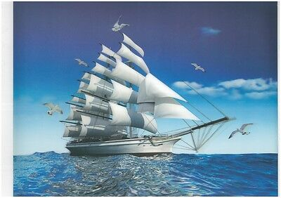 sailing ship 3D Lenticular raster Holographic Stereoscopic Picture Wall Art