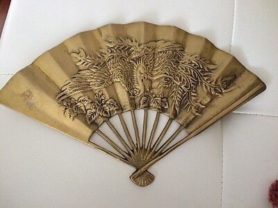 Beautiful Vintage Asian Solid Brass Fan Ornate Dragon Peacock Wall Decor