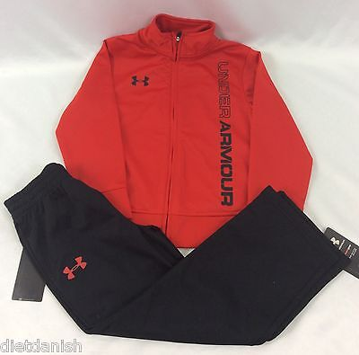 Under Armour BOY'S TODDLER 2 Piece Set Sweat Pants Jacket Red Black Size 2T