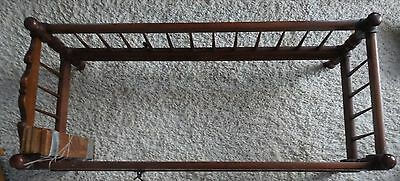 Antique Dark Wooden Baby Cradle Crib on Wheel Casters with Original Wood Slats