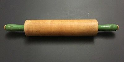 """1940s VINTAGE WOOD ROLLING PIN WITH REVOLVING GREEN HANDLES 17 1/4"""""""