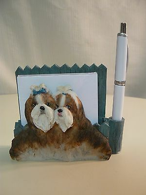 E&S Imports SHIH TZU MAGNETIC NOTE PAD & Pen NEW #46480-38 Sits DESKTOP
