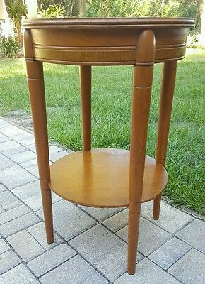VINTAGE MID CENTURY ART DECO ROUND Blonde Wood 2 Tier End Side ACCENT Table