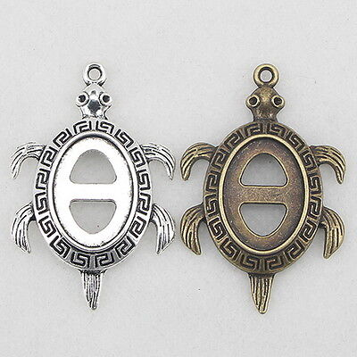 18*13mm Turtle Retro Charms Antique Style Pendants Cameo Cabochon Setting Base