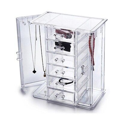 HQdeal Deluxe Acrylic Jewellery/ Makeup Chest Organiser Storage Box Necklace/ Ch
