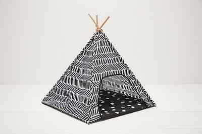Pet Teepee Dog Cat Puppy Kitten Bed Tent House Folding Kennel Pad Indoor Black