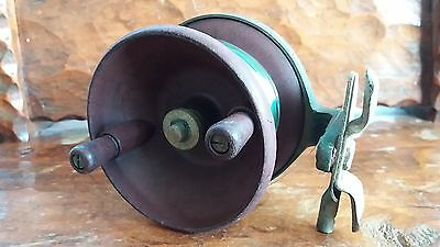 Vintage Alvey 10.5cm bakelite brass back fishing reel