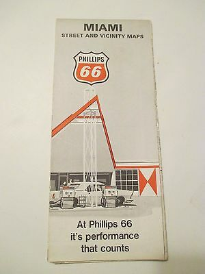1969 PHILLIPS 66 MIAMI FLORIDA Gas Station CITY STREET Road Map