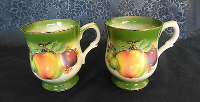 2 x Vintage Mayfayre Staffordshire Mugs – Fruit design – Good Condition