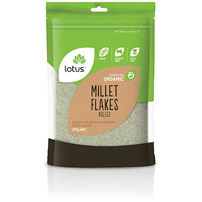 1.5kg Organic Rolled Millet Flakes (4 x 375g bags) by Lotus Brand