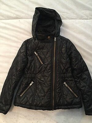 Girls F & F Black Quilted Coat 6-7y New without tags