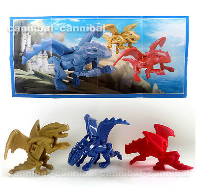 ~ KINDER Joy - Surprise Eggs Toy - SD628, SD629, S630 - set of 3 DRAGONs