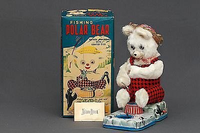 Super Rare ALPS Japan 1950's Battery Op Fishing Polar Bear Tin Toy WORKS in BOX