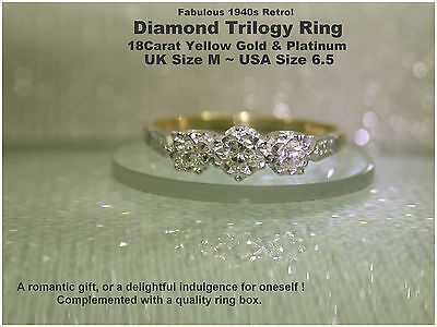 Diamond Engagement Ring 18ct Yellow Gold & Platinum Trilogy 1940s Vintage UK M