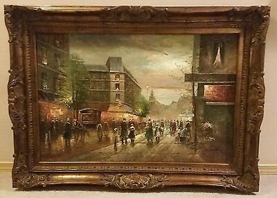Original Hand-Painted Vintage Wood Framed Oil Painting on Canvas. Signed