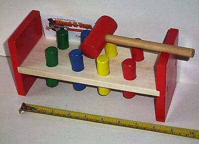 Wooden Toy 8-Peg Hammer Bench- for kids 12 months and up.