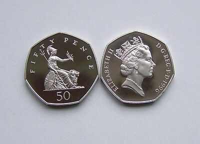 1996 proof Fifty pence, Britannia