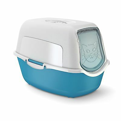 Rotho cat litter box with cover and door - easy to clean litter box for domes...