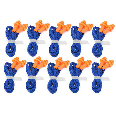 10pc Soft Silicone Corded Ear Plugs Reusable Hearing Protect Earplugs Anti Noise