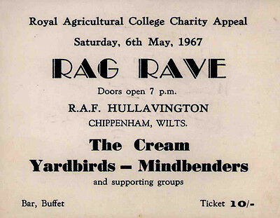 Eric Clapton Cream Yardbirds Repro 1967 Rag Rave 6 May Concert Ticket Not Cd Dvd