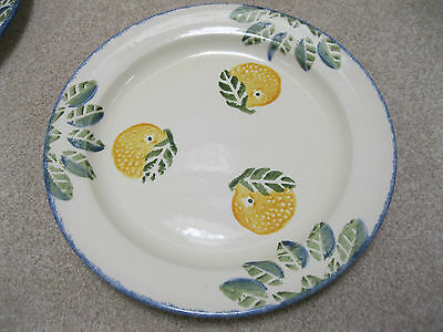 Poole Pottery Lemon design. 2 x dinner plates 255mm