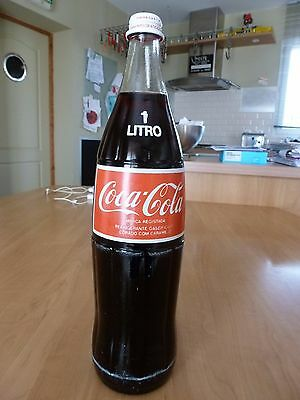 Coca cola bottle 1 liter full, glass, from Portugal