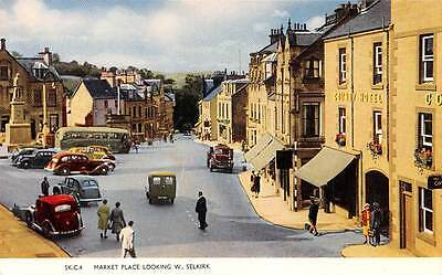 Scotland Market Place Looking W. Selkirk animated vintage cars