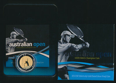 Australia 2012 $2 Gold plated silver proof Australian Open Issue Price $95