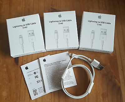 3 X Genuine Official APPLE LIGHTNING USB Sync Charger Lead Cable iPhone 5C 5S 6