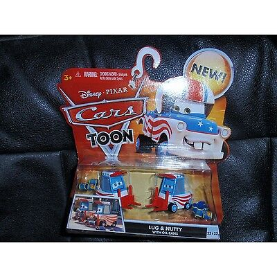 Disney / Pixar CARS TOON 155 Die Cast Car Lug Nutty with Oil Cans. Free Shipping