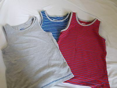 Next boys striped vest top bundle x3 age 5-6 years blue red grey