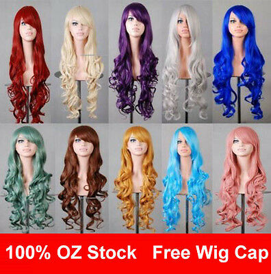 Womens 80cm Long Wavy Curly Hair Synthetic Cosplay Wigs Party Heat Resistant