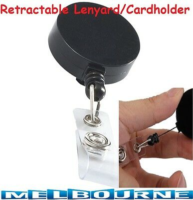 Retractable Lanyard Badge ID Card Holder Business Security Pass Tag Plastic Belt