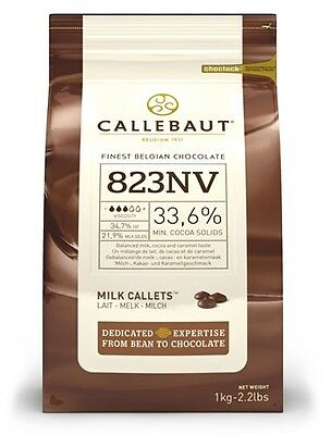 Callebaut Milk Chocolate Chips 1kg easy melting, for baking, cooking, fountains