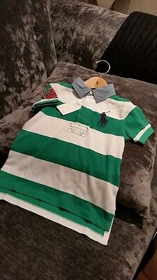 BNWT Polo Ralph Lauren Boys Short Sleeve Green/White Striped T Shirt Age 7