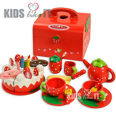 Kids GIRLS Red Wooden CAKE Afternoon TEA Cup Pretend Play TOY SET NEW in BOX