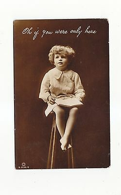 CHARMING POSTCARD OF A BAREFOOT GIRL SITTING ON A STOOL-ROTARY PHOTO No S.O.16.4