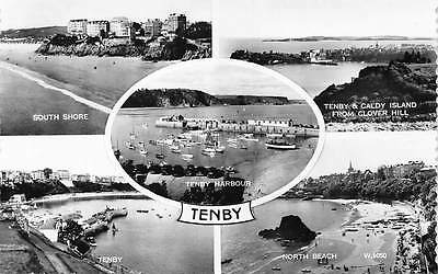 Tenby, North Beach Harbour Caldy Island from Clover Hill South Shore