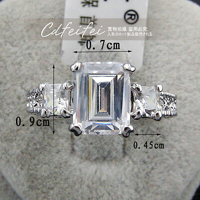 Genuine White Gold 9 ct Engagement Eternity simulated diamond  Ring size 8