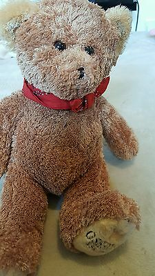 """Lovely OshKosh  teddy bear with red scarf 10"""" tall"""