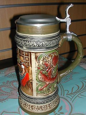 Gerz  - Large Lidded Beer Stein - West Germany - Muscians, Dragons