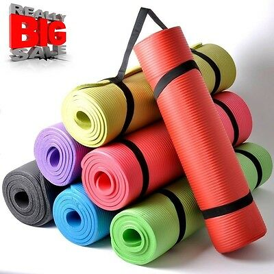 Yoga Mat  Exercise Fitness Physio Pilates Gym Mats Non Slip  Carrier Thick Legen