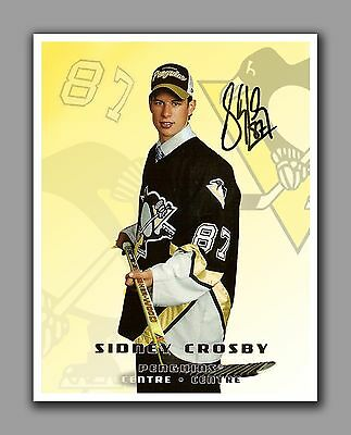 Sidney Crosby Photo Rookie, With Autograph, 8.5 by 11 in, Glossy Photo Paper