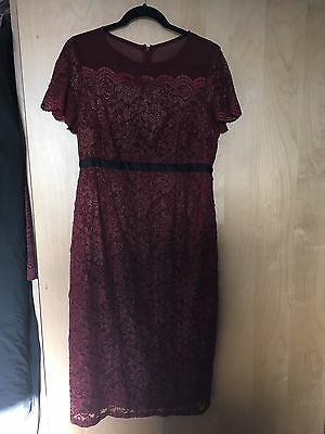 Asos Maternity Dress Size 14 (more Like 16) Burgundy Gold Red Xmas Party Midi