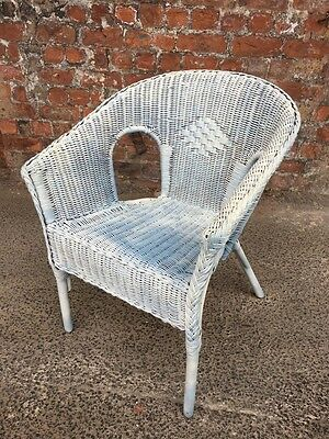 Painted White And Blue Shabby Chic Wicker Bedroom Conservatory Chair - Armchair