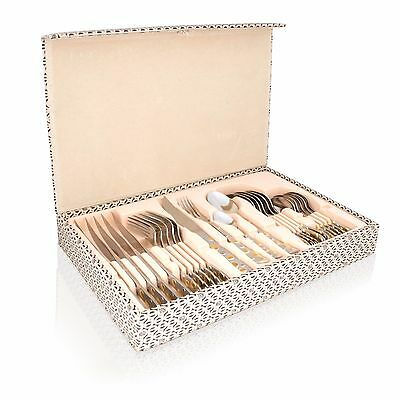 24 Piece Deluxe Stainless.S. Sliver& Gold Cutlery Set in Wooden Box Family D